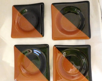 "Coasters  with recess centers. Set of 4 Black and Rust 5"" square"