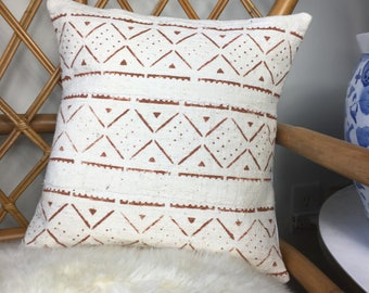 """Rust and White Pattern Vintage African Mudcloth HandMade Copper / Rust & White Pillow Cover, 16"""" x 16"""" - 18"""" x 18"""" - 20"""" x 20"""" - 25"""" x 25"""" -"""