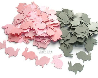 120 Mixed Pink & Grey Rabbit Cut-outs, Confetti - Set of 120 pcs