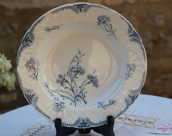 ancieenne earthenware plate blue french Thistle flower
