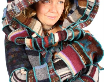 Recycled Sweater -Jumper - Psychedelic Patchwork CIrcus Coat TUTORIAL by Katwise
