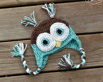 Crochet Baby Owl Hat, Newborn Boy Animal Hat Baby Shower Gift, Warm Turquoise Aqua Blue Winter Infant Coming Home Hat
