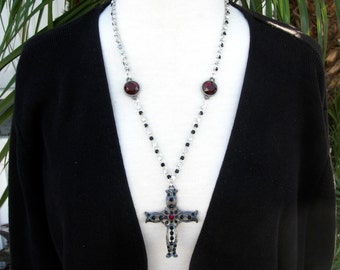 Black Goth Rhinestone & Red Cross, Fancy Rhinestone Chain, Red Connectors, Fancy Red Earrings, Necklace Set by SandraDesigns