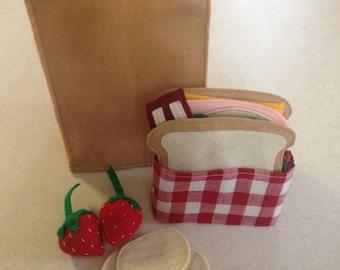 Felt Food, sandwich sack lunch, pretend play kitchen, picnic, birthday gift, Christmas gift, imagination play, boy and girl gift, display