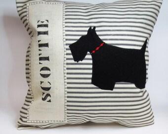 Scottie silhouette pillow, decorative Scottie silhouette pillow cover, felt Scottie silhouette, stripe Scottie pillow. Scottish terrier dog
