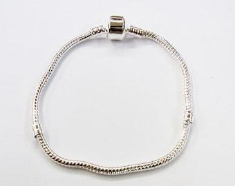 22cm 3mm Big Hole Charm Beads Bracelet, Chain Lot of 5 pieces - 2379 -, big hole beads bracelet, 3mm beads flexible bracelet