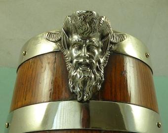 Huge Victorian silver plate banded coopered oak pitcher Jug