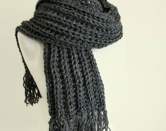Men's Grey Winter Scarf- Mens Gift - Gift for him - Boyfriend scarves