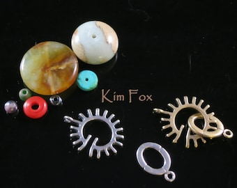 Sun Style slot clasp in sterling silver or golden bronze for necklace or bracelet by Kim Fox - unisex