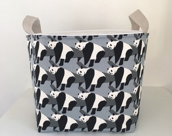 Toy Storage Basket, Fabric Basket, Nursery Storage, Pandas on Grey