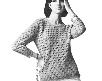 Crochet Sweater Pattern Womens Vintage Shell Stitch Pullover Top Crochet Pattern Jumper Instant Download PDF Pattern Size 8 to 18- C143