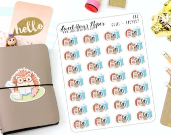 Laundry Planner Stickers - Washing Machine Stickers - Hedgehog Planner Stickers - Chore - Character Stickers - Wash Clothes Stickers - 680