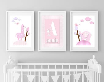Animal Prints, Girls Nursery, Personalized Nursery Prints, Baby Animal Prints, Prints for Nursery, Jungle Prints, Safari Prints, Pink