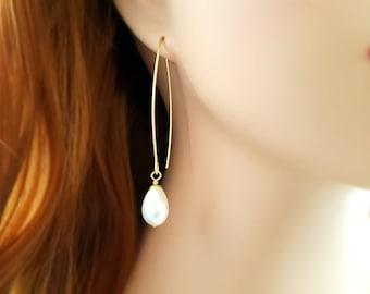 Teardrop Pearl Earrings - Long Drop Earrings - Dangle Pearl Earrings - Gold Pearl Drop Earrings - Pearl Bridal Jewelry - Modern Pearls E4233