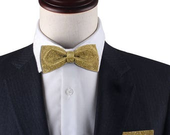 Gold Rhinestones bow tie, gold bowtie, Rhinestones bow tie,groom bow tie, groomsmen bow tie, CK  bow , gold pocket Square