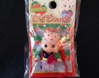 Mini Kewpie Strawberry farmer mobile charm keychain - Kawaii QP