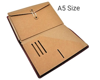 A5 Kraft File Folder with Envelope Insert for Traveler's Notebook Large Size Credit Card Holder Midori Accessories