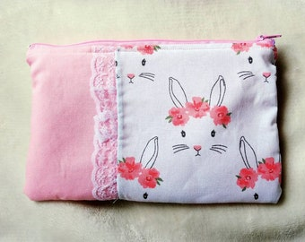 Flowers and Bunnies Travel Bag - Pencil Pouch - Cosmetics Pouch