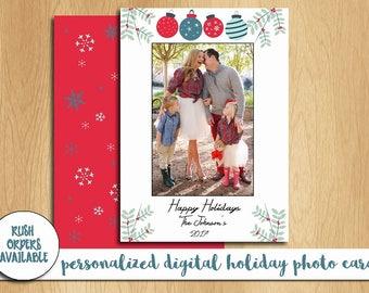 Holiday Photo Card Printable / Digital Holiday Photo Card / Happy Holidays Photo Card / Personalized Photo Card
