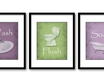 Bathroom Decor Bathroom Print Purple Plum Lime Green Set of 3 Bathroom Art Prints Flush Wash Soak Wall Decor Modern Minimalist