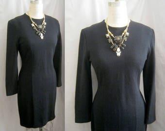 "Vintage 80s Knit Classic LBD DRESS  Kathryn CONOVER Body Con Medium Bust: 36.5"""