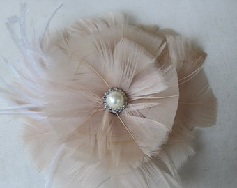 Feather applique  cream  color