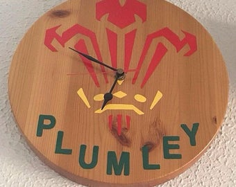 Wooden Wales Clock/personlised family name/gift/clock/Wales