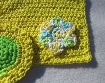Cotton Dish Cloth and Scrubbie Set, Yellow and Green Gift Set, Hostess Gift by Charlene, Pot Scrubby and Dishrag Set