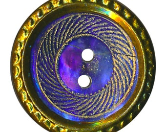 Button--Small Purple Tinted Engraved Pearl Sew-thru in Brass