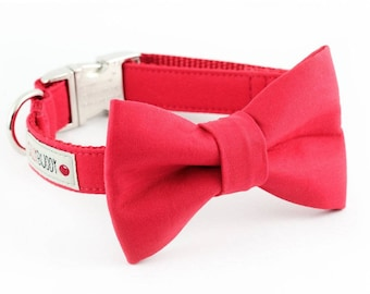 Solid Red Dog Bowtie Collar