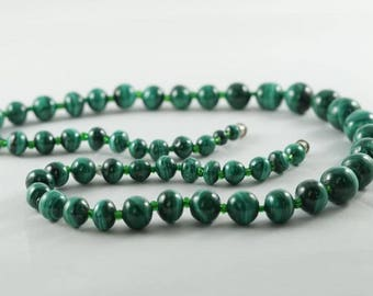 Natural Malachite Beaded Necklace - Genuine