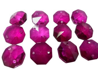 12 Magenta Chandelier Crystals 14mm Octagon Beads