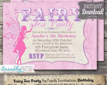 Fairy Tea Party Invitation - INSTANT DOWNLOAD - Editable & Printable Pink Girls Birthday Party Invite by Sassaby Parties