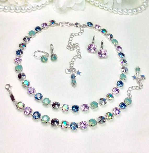 Denim & Pacific Opals Swarovski Crystal 8.5mm Necklace - Designer Inspired - Sophistication++- FREE SHIPPING