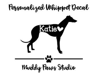 Personalized Whippet Decal, Custom Whippet Decal, Whippet, Whippet Decal, Whippet Sticker, Dog Decal, Personalized Decal, Custom Dog Decal