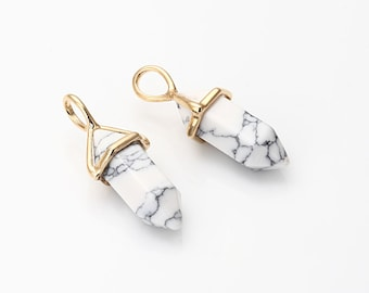 Howlite White Gemstone Pointed Pendant (Small), Charm Polished Gold -Plated - 2 Pieces [G0114-PGHL]