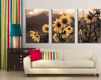 Three Panel Multiple Piece Canvas Sepia Daisy Photograph Accent Nature Home Decor  Kitchen Wall Hanging Print