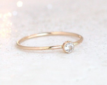 gold ring. cz diamond. birthstone ring. ONE delicate stackable birthstone ring. mothers ring. 14k gold filled. engagement ring