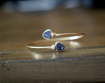 Druzy Geometric Bracelet , Bezel Wrapped Bangle in 14k Gold Fill , Triangle Cobalt Blue Druzy Wrap Style ,  Modern Fashion
