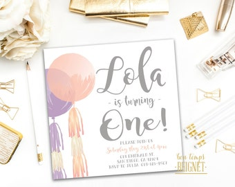Balloons Birthday Invitation - Birthday Party invitation - Round Balloon & Tassels - Printable Digital Invite - ANY AGE - Square