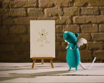 Mouse Angel. Felting wool. Mice handmade. Felted mouse. Mouse toys. Angel. Felting wool mouse.