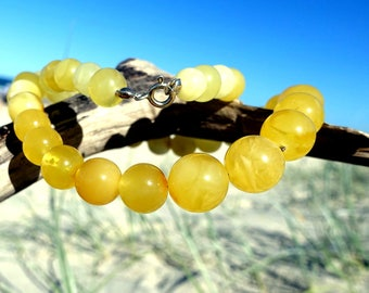 Baltic Amber Round Beaded Necklace, Yellow Amber Necklace, Amber Ball Necklace, Amber Jewelry, Yellow Necklace