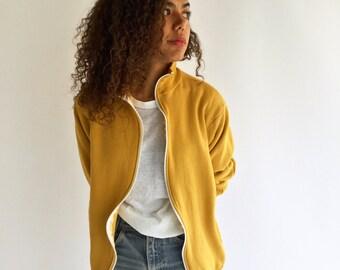 Vintage Yellow Zip Up Sweatshirt | Military Turmeric Goldenrod Comfy Vintage Sweatshirt | Made in USA Soft | 50 50 Lounge Sweatshirt