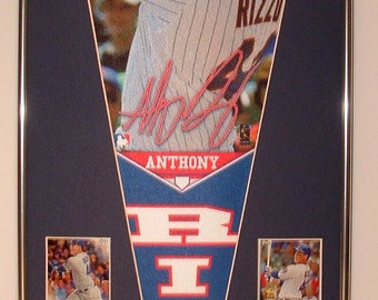 Chicago Cubs Anthony Rizzo Player Pennant & Cards!! Great Gift!...Custom Framed!!