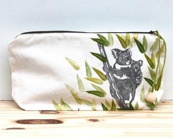 Mum and baby Koalas big pencil case, clutch bag, block printing, handmade