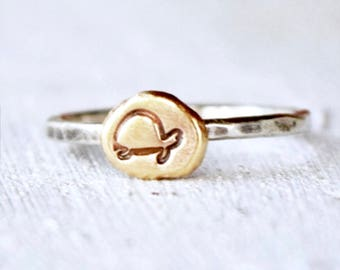 Turtle Ring, Recycled Brass, Copper or Sterling Silver Dot, Nature, Stacking Ring, Turtle Stack Ring, Hand Stamped Turtle, Custom Made