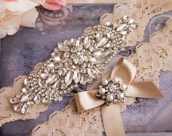 Champagne Wedding Garter set, Champagne Bridal Garter, Rhinestone Garter, Crystal Wedding Garter, Rhinestone Bridal Garter Set
