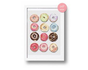 Donuts cross stitch pattern, modern cross stitch, kitchen cross stitch, kitchen pattern pdf, kitchen wall decor, food pattern, pdf chart