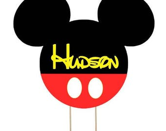 Mickey Mouse cake topper, Disney cake topper, Mickey cake topper personalize topper