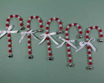 5 Beaded Candy Cane Ornaments White Pearled & Red Faceted Acrylic w/ Jingle Bell Holiday Tree Stocking Stuffer Filler Gift Package Topper